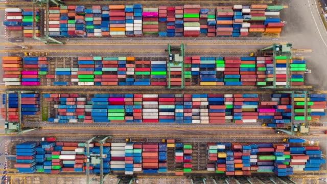 Singapour ville jour temps célèbre Container Terminal port antenne TopDown panorama 4k timelapse - Vidéo
