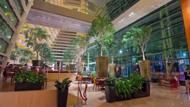 singapore city famous hotel hall interior panorama 4k time lapse