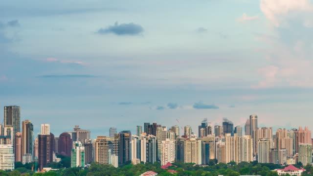 4K Singapore city skyline of sunset video