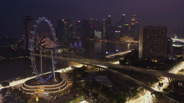 Singapore flyer and urban skyline aerial view