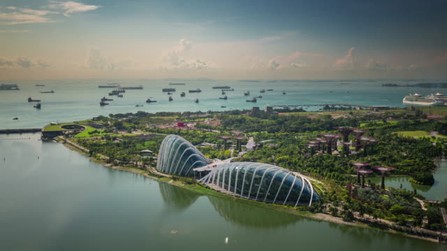 singapore flyer bird view on coast and garden 4k time lapse