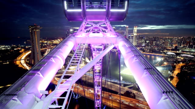 singapore flyer with skyline - singapore architecture stock videos & royalty-free footage