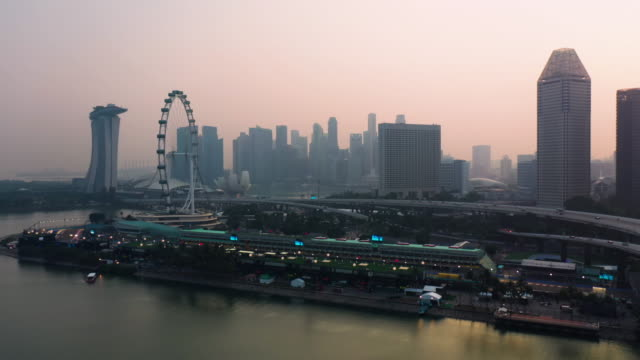 Singapore landscape at sunset time aerial view