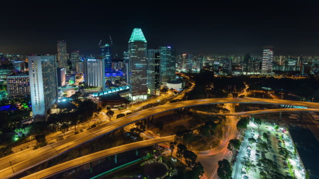 singapore night light traffic road 4k time lapse from flyer