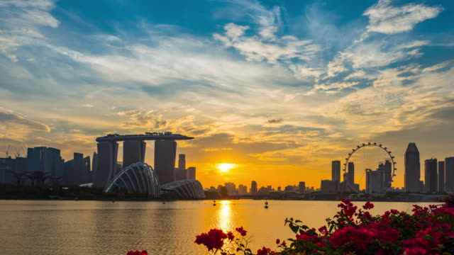 singapore panorama at sunet - singapore architecture stock videos & royalty-free footage