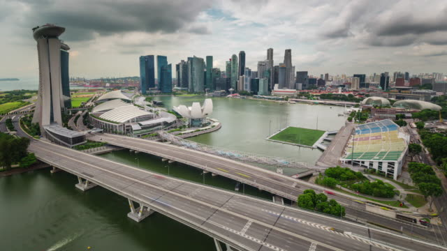 singapore panorama from flyer day light 4k time lapse - singapore architecture stock videos & royalty-free footage