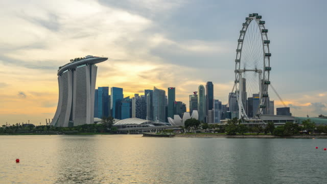 Singapur Skyline Tag-nacht Zeitraffer in Singapur Stadt – Video