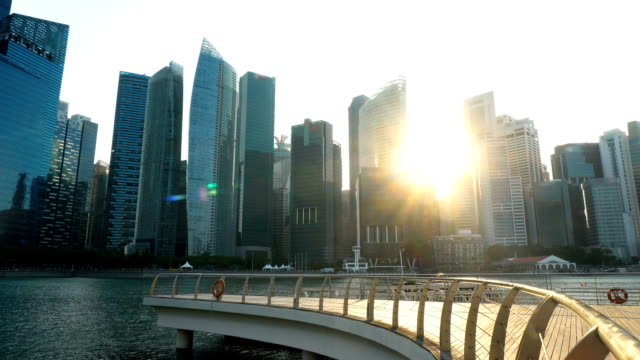 Singapore Skyline of Finance District Office Buildings During Sunset