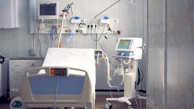 Single bed and elements of life-support system in a hospital room Single  bed and elements of life-support system situated in a hospital room. 4K domestic room stock videos & royalty-free footage