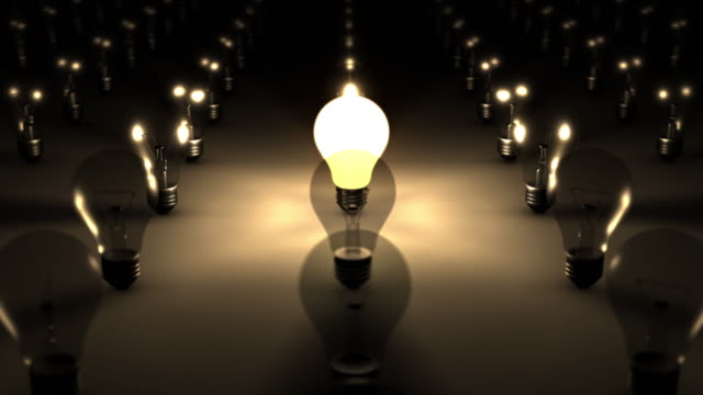 3D SEAMLESS LOOP Single Illuminated Lightbulb video