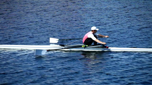 Single scull rowing video