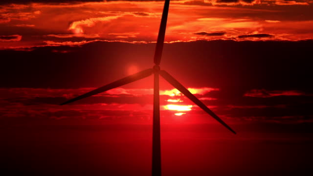 Single windmill against red sunset - HD