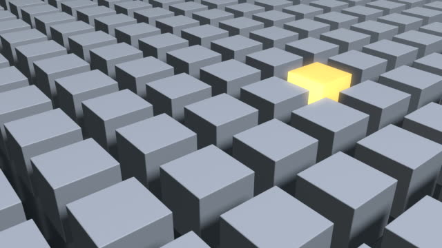 Single Yellow Cube In The Middle Of Metallic Gray Cubes video