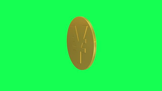 stockvideo's en b-roll-footage met single yen teken munt roterende loopbare animatie. gouden yen coin loopable - yenteken