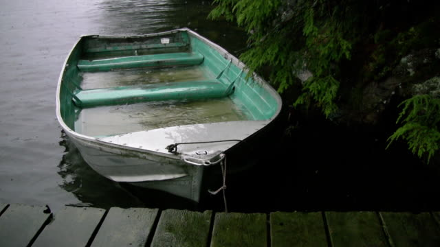 Sinking fishing boat. Good rain noises! video