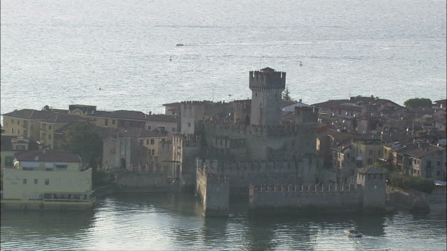 Sirmione Castle  - Aerial View - Lombardy, Provincia di Brescia, Sirmione, Italy