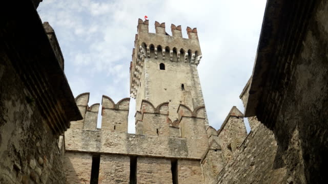 sirmione castle tower - medieval architecture stock videos & royalty-free footage