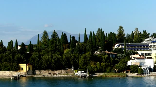 Sirmione town seen from tourist ship from Desenzano to Sirmione