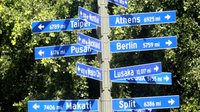 Sister Cities of Los Angeles sign in 4k slow motion video