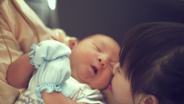 sister kissing her newborn baby - brother stock videos and b-roll footage
