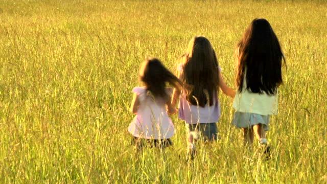 hd-schwestern lauf durch grass field - schwarzes haar stock-videos und b-roll-filmmaterial