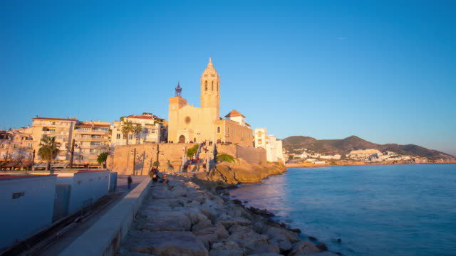 sitges church of sant bartomeu and santa tecla sunset 4k time lapse spain video