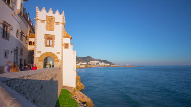 sitges sunset light coast church wall 4k time lapse spain video