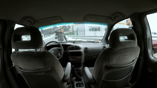 POV Sitting in the back seat when driver crashes into another car in the crossroad Point of view shot of a back seat passenger riding in the back seat of the car when the driver hits another car in the crossroad. Shot in Slovenia. car accident stock videos & royalty-free footage