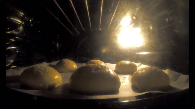 Six burger buns baking in the oven - Time lapse video Six burger buns baking in the oven - Time lapse video. The buns are swelling due to the baking. bun bread stock videos & royalty-free footage