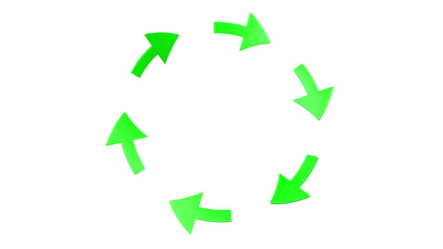 Six green rotating arrows. (loop ready with mask) video
