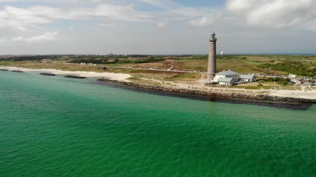 Skagen Lighthouse in Denmark Skagen Lighthouse on the shores of the Baltic Sea in Skagen, Denmark denmark stock videos & royalty-free footage