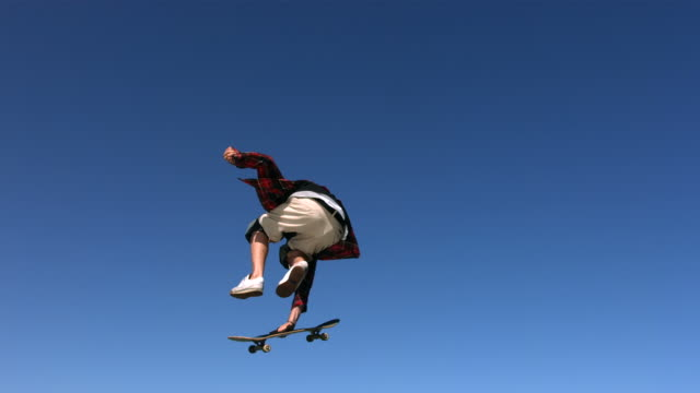 Skateboarder flying in air, slow motion