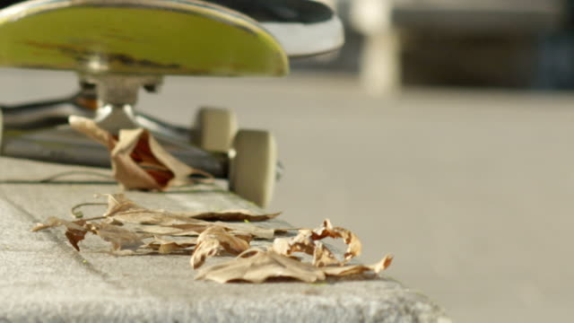 slow motion close up dof: skateboarder wykonujący sztuczkę grindową na betonowej ławce - łyżwa filmów i materiałów b-roll