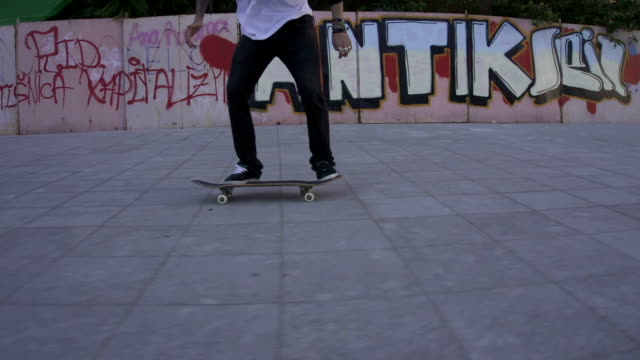 Skateboarder performing tricks video
