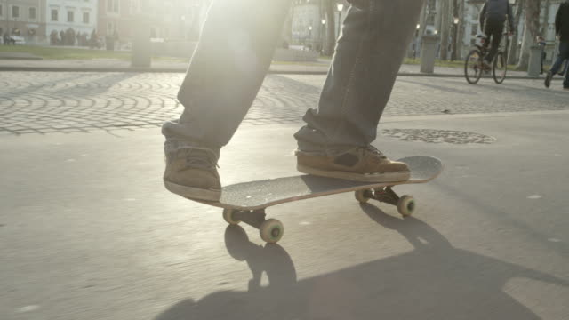 SLOW MOTION: Skateboarder performs a trick video