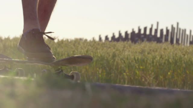Skateboarder drängen neben Weizenfeld mit epischen Sonnenuntergang und Sonne Fackeln - Schuss auf rot – Video