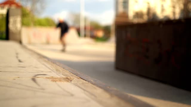 skateboarder tries to jump on a ramp. - miroslav mitic stock videos and b-roll footage