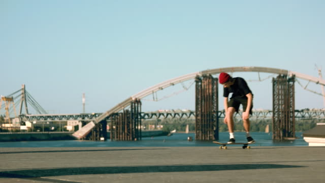 Skater performs a trick. video