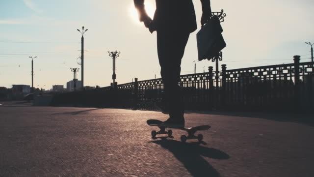 skating in urban streets - skate video stock e b–roll