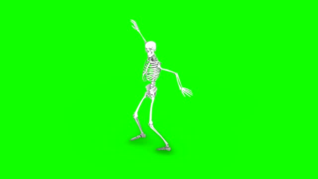 skeleton dancing on an isolated green background, seamless loop animation - halloween background filmów i materiałów b-roll