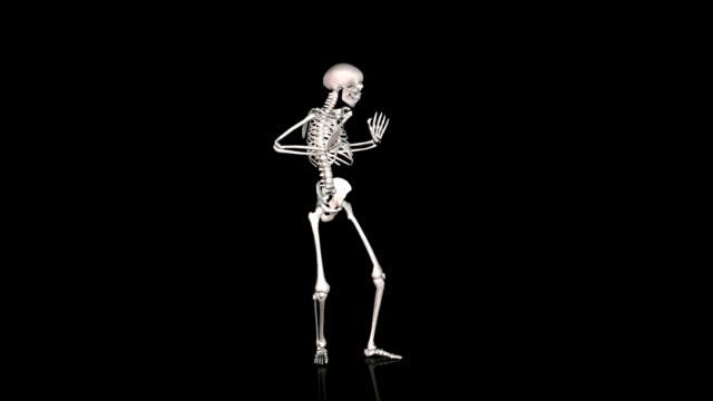 Skeleton Disco Dancing  White-  Reflecting Ground   CGI video