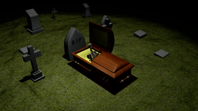 Skeleton in coffin going into grave Skeleton in coffin going into grave. 3D animation. eternity stock videos & royalty-free footage