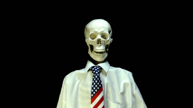 Skeleton in USA tie talking