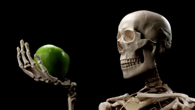 skeleton sniffs an apple - i̇nsan i̇skeleti stok videoları ve detay görüntü çekimi