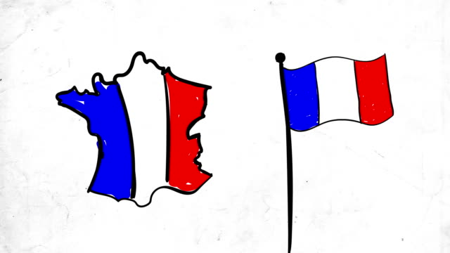 Sketch animation for France map and flag