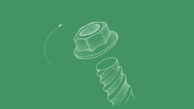 Sketch of Flange Nut and Screw Video Clip Manufacturing and Industry, Motion Clip of Illustration Hand Drawn Sketch of Flange Nut and Screw. A Type of Fastener with Threaded Hole Used in Conjunction with A Mating Bolt to Fasten Parts Together. bolt fastener stock videos & royalty-free footage