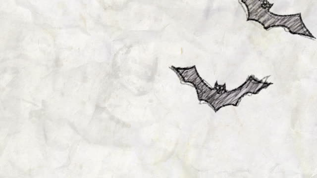 vídeos de stock e filmes b-roll de sketch of flying bats in pencil drawing style - fofo texturizado