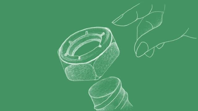 sketch of nylon insert lock nut video clip - винт стоковые видео и кадры b-roll