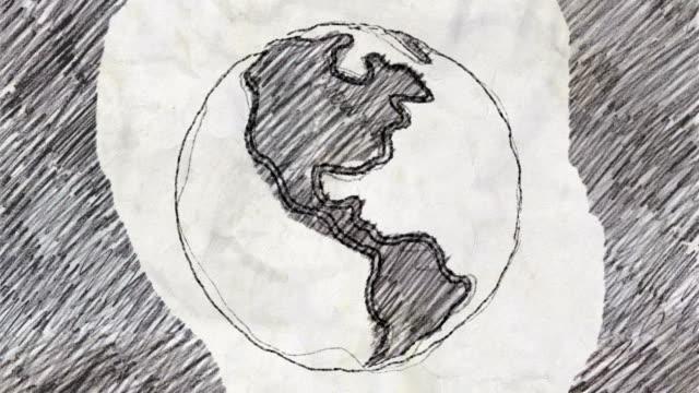 schizzo del pianeta terra che ruota in stile disegno a matita - scarabocchio motivo ornamentale video stock e b–roll