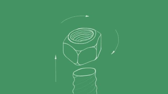 sketch of prevailing torque lock nut video clip - винт стоковые видео и кадры b-roll